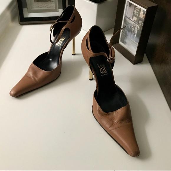 81fe83ffe412 Nude Versace strap D orsay Medusa heel. M 5bddd0e0fe5151d36039514c